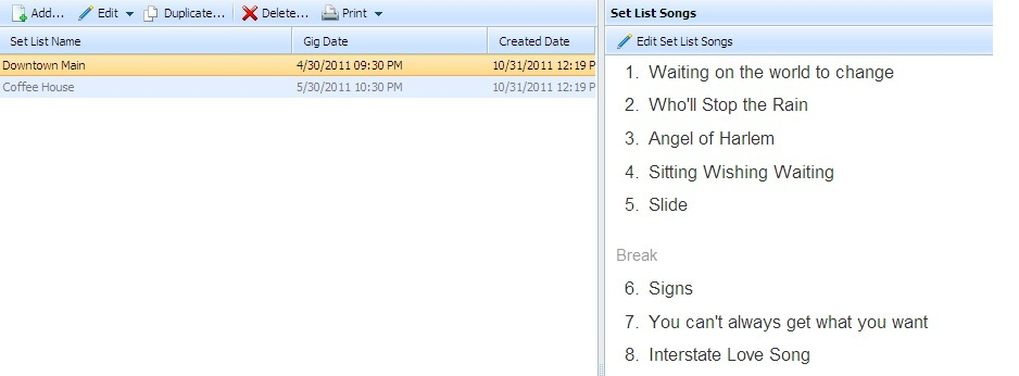 Create setlists quickly and easily